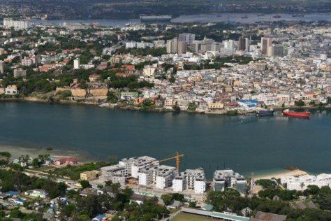 0313 EnglishPoint Marina in the foreground. Mombasa Island between Tudor Creek and Kilindini Channel